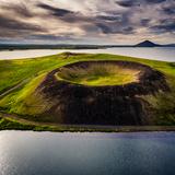 Skutustadagigar pseudo craters, Lake Myvatn, Northern Iceland. Drone photography Impressão fotográfica