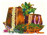 A Gift of Lei - Hawaiian Leis, Koa Wood Bowls, Ti Leaves Plakater av Peggy Chun