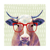 Bespectacled Bovine I Premium Giclee Print by Victoria Borges