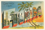 Greetings from Florida v2 Poster par  Wild Apple Portfolio