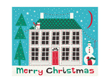 Jolly Holiday Home on Blue Merry Christmas Prints by Michael Mullan