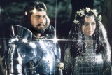"""British actors Nigel Terry as King Arthur and Robert Addie as Mordred in the, 1981 film """"Excalibur"""" Photo"""