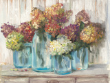 Hydrangeas in Glass Jars White Wood Prints by Carol Rowan
