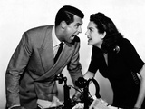HIS GIRL FRIDAY, 1940 directed by HOWARD HAWKS Cary Grant and Rosalind Russell (b/w photo) Photo
