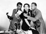 HIS GIRL FRIDAY, 1940 directed by HOWARD HAWKS Cary Grant, Rosalind Russell and Ralph Bellamy (b/w  Photo