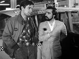 Robert by Niro and le realisateur Martin Scorsese sur le tournage du film Taxi Driver, 1976 (b/w ph Photo