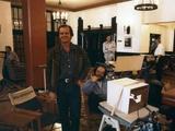 Jack Nicholson and le realisateur Stanley Kubrick sur le tournage du film Shining, 1980 (d'apres St Photo