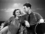 Lifeboat by Alfred Hitchcock with Mary anderson and Hume Cronyn, 1944 (b/w photo) Foto