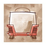 Toaster coral & brown Giclee Print by Larry Hunter