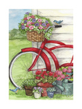 Bike With Birds And Flowers Flag Giclee Print by Melinda Hipsher