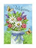 Spring Mason Jar Flowers Welcome Giclee Print by Melinda Hipsher