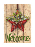 Red Barn Star Spring Welcome Green 3 Giclee Print by Melinda Hipsher