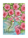 Hummingbird with Flowers Welcome Giclee Print by Melinda Hipsher