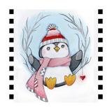Penguin Wreath Reproduction procédé giclée par Valarie Wade