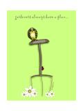 Gardeners Always Have A Plan Bird On Pitch Fork Impressão giclée por Cherie Roe Dirksen
