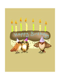 Happy Birthday Birds And Cake With Candles Impressão giclée por Cherie Roe Dirksen