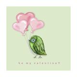 Be My Valentine Bird With Pink Heart Balloons Impressão giclée por Cherie Roe Dirksen