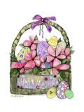 Happy Easter Basket With Eggs And Flowers Impressão giclée por Cherie Roe Dirksen