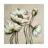 White Poppies On Pastel Pink Background Impressão giclée por Cherie Roe Dirksen