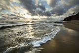 USA, California, Sunset Cliffs Park. Wave on beach at sunset. Premium fotoprint van Jaynes Gallery