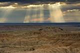 Storm at sunset, Pinnacles Viewpoint, Badlands National Park, South Dakota, USA Premium Photographic Print by Michel Hersen