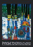 Imagine Tomorrow's World (blue version) Poster af Friedensreich Hundertwasser