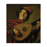 The Clown with the lute. Giclee Print by Frans Hals