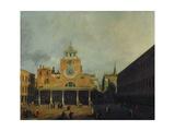 The square in front of San Giacomo di Rialto, Venice. Before 1730 Impressão giclée por  Canaletto