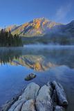 Canada, Alberta, Jasper National Park. Sunrise on Pyramid Mountain and Lake. Fotoprint van Jaynes Gallery
