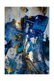 Very Beautiful Art. Abstract Background. Blue and Gold Paint. Golden Sequins Julisteet tekijänä  CARACOLLA