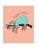 Cute Hand Drawn Sloths, Funny Vector Illustration, Poster and Greeting Card, Party Invitation Láminas por  Marish