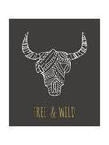 Bohemian Style Bull Skull Poster Giclée-Druck von  Marish