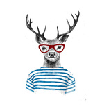 Deer Dressed up in Hipster Style Posters por  mart_m