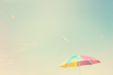 Beach Umbrella with Seagulls. Instagram Effect Photographic Print by  soupstock