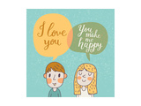 Cute Vector Card with Boy and Girl in Love. Romantic Background with I Love You Lettering. You Make Prints by  smilewithjul