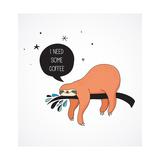 Cute Hand Drawn Sloths, Funny Vector Illustrations, Poster and Greeting Card Lámina por  Marish