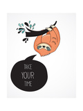 Cute Hand Drawn Sloths, Funny Vector Illustrations, Poster and Greeting Card Láminas por  Marish