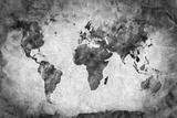 Ancient, Old World Map. Pencil Sketch, Grunge, Vintage Background Texture. Black and White Reproduction photographique par Michal Bednarek