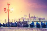 Amazing View of Grand Canal at Sunset with San Giorgio Maggiore Church. San Marco, Venice, Italy, E Photographic Print by Leonid Tit