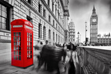 Red Telephone Booth and Big Ben in London, England, the Uk. People Walking in Rush. the Symbols of Fotografie-Druck von Michal Bednarek