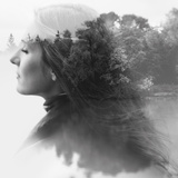Double Exposure of Young Female and the Forest near the Lake(Tilt-Shift Lens) Fotografie-Druck von  Kuzma
