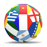 Football and Flags Representing All Countries Participating in Football World Cup in Brazil in 2014 高画質プリント : paul prescott