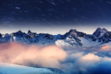 The Milky Way over the Winter Mountains Landscape. Europe. Creative Collage. Beauty World. Fotografie-Druck von Leonid Tit