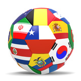 Football and Flags Representing All Countries Participating in Football World Cup in Brazil in 2014 ポスター : paul prescott