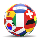 Football and Flags Representing All Countries Participating in Football World Cup in Brazil in 2014 高品質プリント : paul prescott