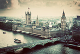 London, the Uk. Big Ben, the Palace of Westminster in Vintage, Retro Style. the Icon of England. Vi Stampa fotografica di Michal Bednarek