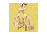 Run, Girl, Run. Cartoon Girl Running. Health Care Concept in Vector Print by  smilewithjul