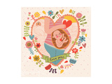 Pregnancy Concept Card in Cartoon Style. Baby and Mother in Love inside Hearts and Flowers Print by  smilewithjul