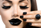 Beauty Fashion Model Girl With Black Make Up, Long Lushes Art by Subbotina Anna