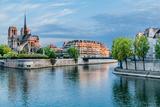 Notre Dame De Paris and the Seine River France in the City of Paris in France Fotografisk trykk av  OSTILL